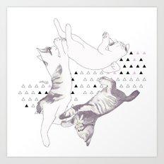 cat triangle  Art Print