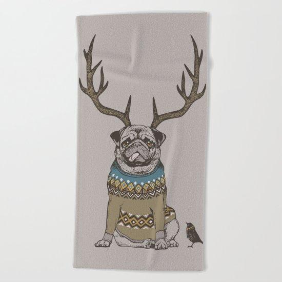 Deer Pug Beach Towel