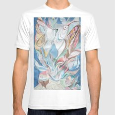 Spring blues White MEDIUM Mens Fitted Tee