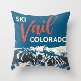 Vintage Vail Ski Poster Blue Throw Pillow