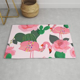 Flamingos. Exotic Birds with cactus and roses artistic design pattern Rug
