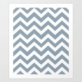 Cadet grey - grey color -  Zigzag Chevron Pattern Art Print