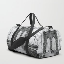 Brooklyn Bridge, New York City (rustic black & white) Duffle Bag