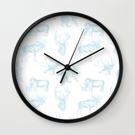 Woodland Critters in Winter Blue Wall Clock
