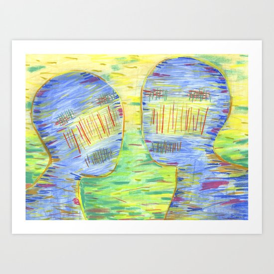 Blue Couple Art Print