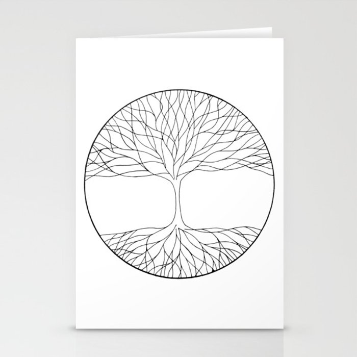 Black And White Minimalist Tree Of Life Line Drawing Stationery Cards By Vikkart
