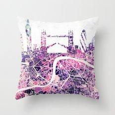 LONDON Skyline + map Throw Pillow