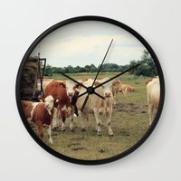 cows Wall Clocks featuring Cows by Falko Follert Art-FF77