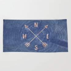 Rosegold and Blue Compass Beach Towel