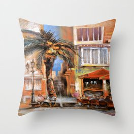 Outdoor cafes Throw Pillow