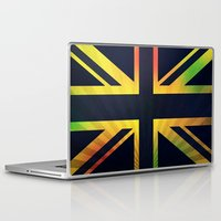 british flag Laptop & iPad Skins featuring RASTA BRITISH FLAG by shannon's art space