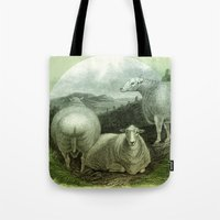 ass Tote Bags featuring Sheep's Ass by Connie Goldman