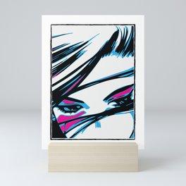 angry blue eyes battle angel Mini Art Print