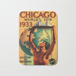 Chicago World's Fair 1933 Vintage Poster Bath Mat