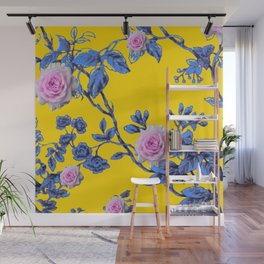 ANTIQUE STYLE PINK & BLUE GARDEN YELLOW COLOR ART Wall Mural
