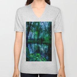 Enchanted Forest Lake Green Blue Unisex V-Neck