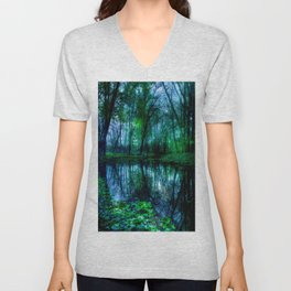 Enchanted Forest Lake Green Blue Unisex V-Neck