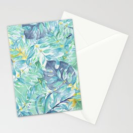 Modern teal green yellow watercolor tropical leaves Stationery Cards