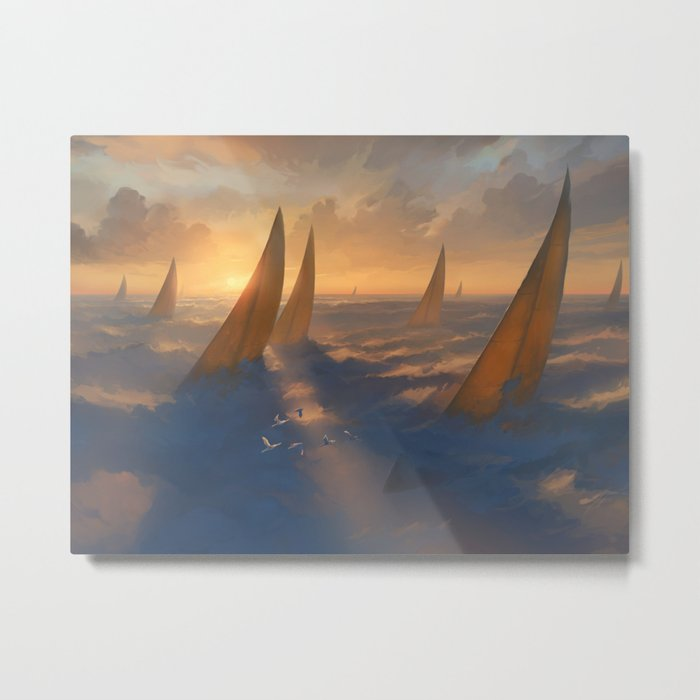 Cloud Regatta Metal Print