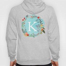 Personalized Monogram Initial Letter K Blue Watercolor Flower Wreath Artwork Hoody