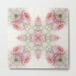 Pink Chrysanthemums Kaleidoscope Art 1 Metal Print