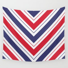 Patriotic Red White and Blue Chevron Stripes Wall Tapestry