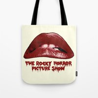 rocky horror Tote Bags featuring Rocky Horror Picture Show Lips Logo by TOM / TOM