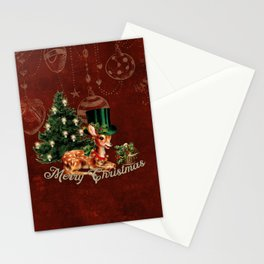 Merry Christmas, cute little fawn with hat and christmas tree Stationery Cards