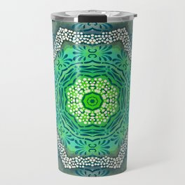 Octagon Kaleidoscope Flower in Green Turquoise and Gray Travel Mug