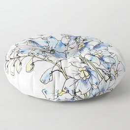 Blue Delphinium Flowers Floor Pillow