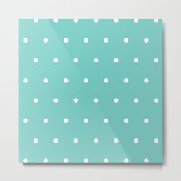 White polka dots on tiffany color background Metal Print