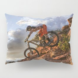Mountain Bike in Rugged Mountain Terrain in Sunbeams Pillow Sham