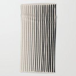 Black Vertical Lines Beach Towel