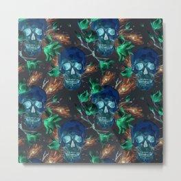 Skull and flower pattern Metal Print