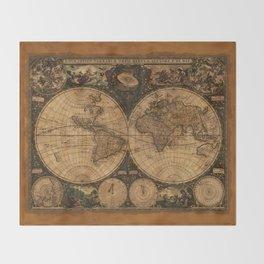 Nova Totius Terrarum Vintage Map Throw Blanket