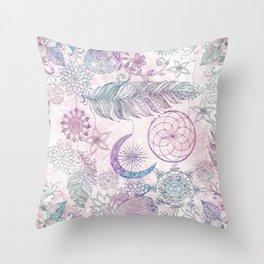Magical Iridescent Glitter Feathers Dreamcatcher Throw Pillow
