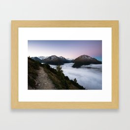 Panoramia at dawn with sea of fog and Bernina mountain range. Framed Art Print