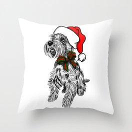 Christmas Schnauzer Sketch Throw Pillow