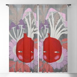 pomegranate with mushrooms and flowers on grey watercolor illustration Blackout Curtain