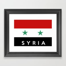 Syria country flag name text Framed Art Print