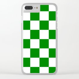 Large Checkered - White and Green Clear iPhone Case