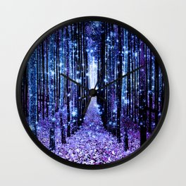 Magical Forest Turquoise Purple Wall Clock