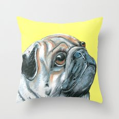 Pug, printed from an original painting by Jiri Bures Throw Pillow