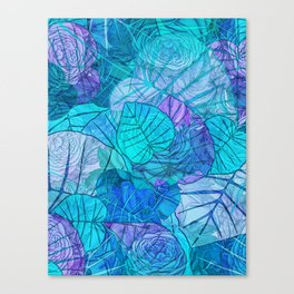 Leaves in Rosy Background 3 Canvas Print