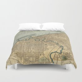 Vintage Map of Cleveland OH (1894) Duvet Cover