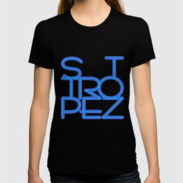 St. Tropez in blue neon T-shirt
