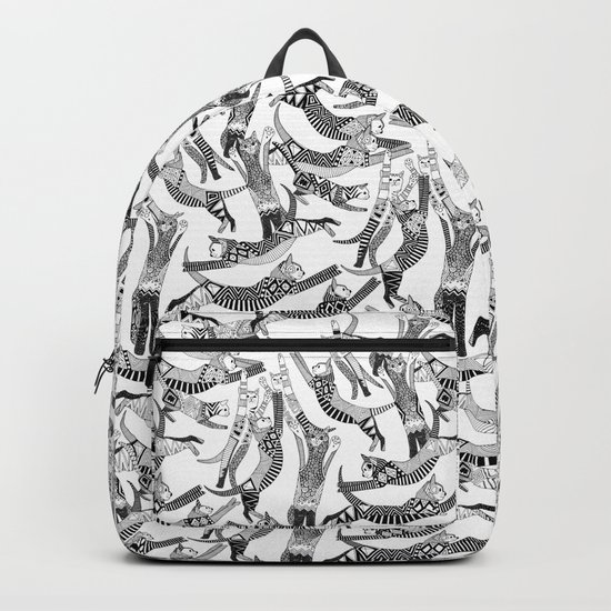 cat party black white Backpack