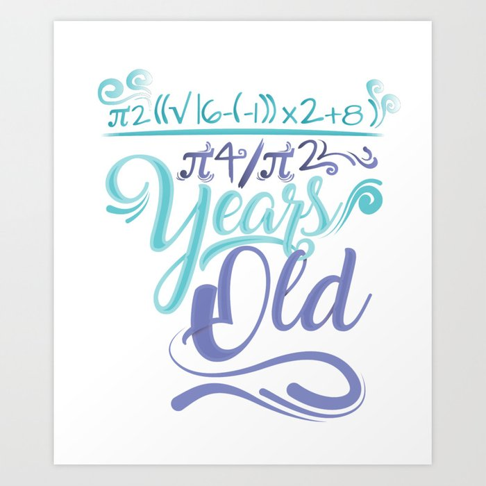 18 Years Old Algebra Equation Birthday Gift Ideas Art Print
