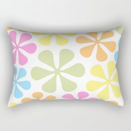Abstract Flowers Bright Color Mix Rectangular Pillow