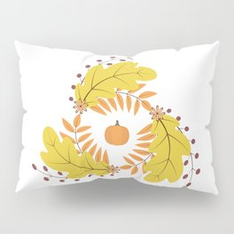 Wreath of colorful autumn leaves, flowers and pumpkin. Pillow Sham